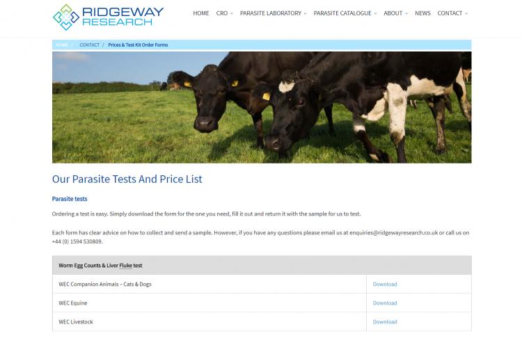 Ridgeway Research WEC form page