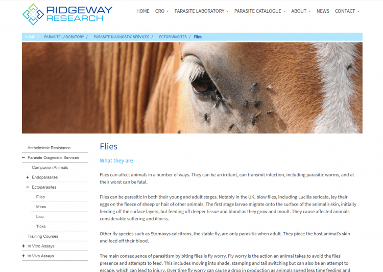 Ridgeway Research website menu